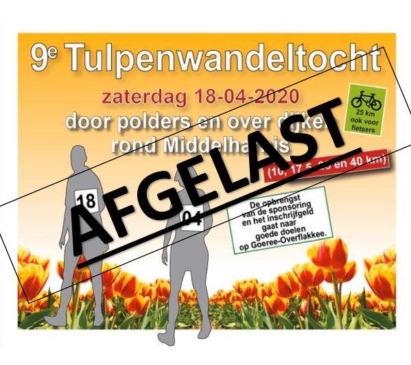 Flyer Tulpenwandeltocht gaat niet door